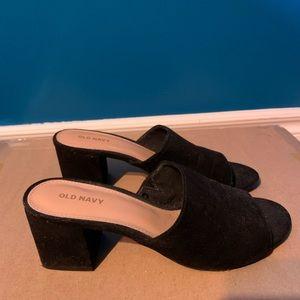 Low Heeled Black Suede Mules